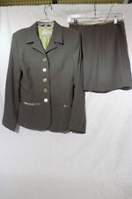 CIGNAL 2 Piece Womens Suit, Blazer & Skirt Set, Brown & Green, Womens Size 8-B46