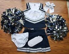 COWBOYS CHEERLEADER COSTUME OUTFIT SET DELUXE POM POMS BOW UNIFORM 12-14 8 PCS