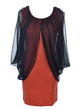 USA S/M Fit Orange Slim Body Con Dress with Sheer Black Cape Drape Sleeves