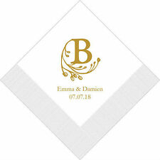 100 Modern Fairy Tale Initial Personalized Wedding Cocktail Napkins