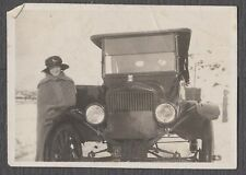 Vintage Car Photo Pretty Girl w/ Model T Ford Automobile 592446