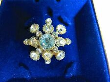 Clear rhinestone pot metal Flower Art Deco BROOCH