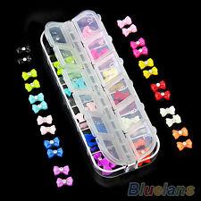 60X3D Glitters Bow Tie Butterfly Rhinestone Nail Art Tips Decorative Diy BG8U