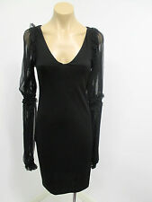 Roberto Cavalli Black Bodycon Dress w/ Unusual Sheer Long Sleeves - Size Small