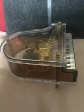 Unusual Retro Grand Piano Musical Box,Visible Movement,Musical Notes Decoration