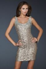 NWT $338 La femme 17413 Bronze Sequin Jeweled Tank Body Dress SZ 6 [RARE] #N21