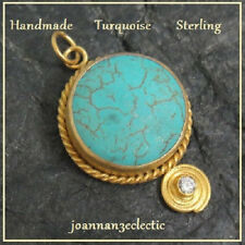 Pendant for a dressy day  Ancient Style Turquois Yellow Gold Sterling Silver