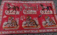 TAPPETO russo, karbaragh, con cavalli e cani (255/8011)
