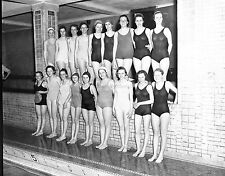 Leslie Jones original glass negative. The Girls Swim Team at the Pool.