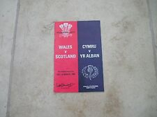 Wales v Scotland Saturday 1st March 1980 Matchday Programme