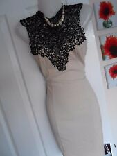 **STUNNING** LIPSY LONDON SIZE 12 NUDE BLACK LACE BODYCON DRESS *FAST POSTAGE*