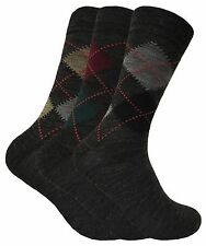 3 Pack Mens Black or Grey Lambs Wool Blend Argyle Pattern Thin Hiking Socks