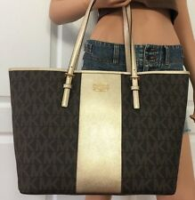 SAC DE MICHAEL KORS MET CENTER RAYURES MK Signature Marron/pale gold Jet Set
