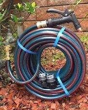"""30M Flexiible 12MM Garden Water Hose 1/2"""" Brass Fittings & Pistol 8/10 Kink Free"""