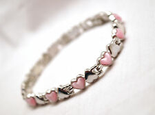 LADIES 7.5 IN. MAGNETIC THERAPY LINK BRACELET: Silver & Pink Hearts; Helps Pain!