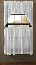 WHITE RUFFLED Sheer Window Tier Set Cafe Curtains Country Frilly Classic 24""