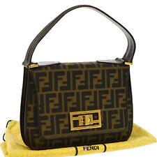 Authentic FENDI Zucca Pattern Hand Bag Brown Canvas Leather Vintage Italy V14474