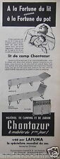 PUBLICITÉ 1955 LIT DE CAMP CHANTAZUR CRÉÉ PAR LAFUMA - ADVERTISING