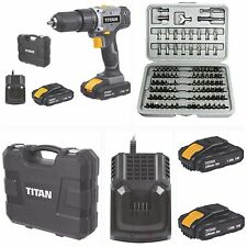 18V  CORDLESS LITHIUM COMBI DRILL  TITAN  X2 1.5AH LITHIUM BATTERYS FAST CHARGER