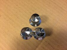 3 Vintage Chrome Ham Radio Knobs Guitar Amplifier Pointer push-on shaft
