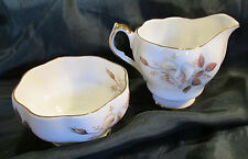 sweet Queen Anne Bone China England, Mini Cream Sugar Set Autumn Rose