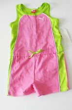 Puma Kids Girls One Piece Jumpsuit Romper Pink/Green Sz 4T - NWT