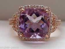 3.5ct Rose de France Amethyst & Sapphire Cushion Halo Ring- 10K Rose Gold Sz 7