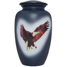 Blue, Eagle, America - Aluminum Funeral Cremation Urn,  Adult, 200 cubic inches