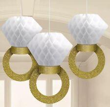3 en nid d'abeille paillettes d'or bague de mariage fiançailles pendaison décoration