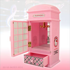 SANRIO Hello Kitty Telephone Booth Music Box Storage Jewelry Box Pink Girl Toy