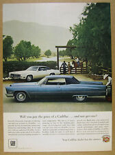1967 Cadillac blue Coupe deVille & white Eldorado photo vintage print Ad