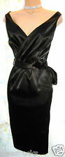 SIZE 10 40'S 50'S STYLE WIGGLE PIN UP COCKTAIL DRESS BLACK SATIN # US 6 EU 38