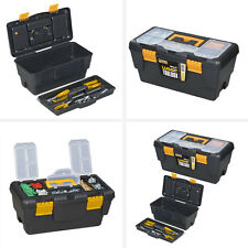 "2 x Tool Box Boxes Storage Case 16"" + 19"" ToolBox Removable Tray DIY Tools"