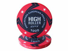 Blister da 25 fiches EPT HIGH ROLLER Replica poker Ceramica 10 gr. valore 1000