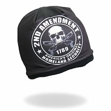 HD Sublimation 2nd Amendment Black Skull Biker Stocking Cap Beanie Hat Headwear