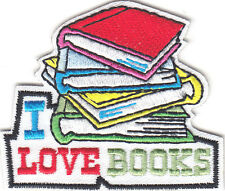 """I LOVE BOOKS"" IRON ON EMBROIDERED PATCH  - READING - SCHOOL - BOOK - TEACHER -"