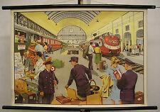 Schulwandkarte Wandkarte Wandbild Bahnhof Zug Lok TEE Geschenk Jubiläum 90x64