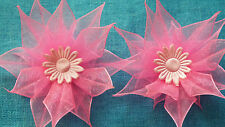 UK-Fabric,Pink - Organza Ribbon Flowers  Appliques,Trimmings ,Wedding- 70mm x 2