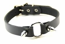 "Spiked -O- Ring Choker - Leather Connecting 1"" Ring Punk Goth Rockabilly-3/4"""