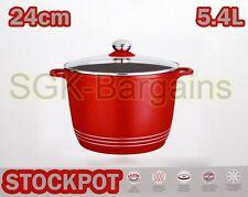 RED Base Induzione Piano Cottura pressofuso STOCK stufato di Cottura Pentola STOCKPOT Coperchio in vetro 24 cm