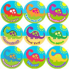 144 Big Colourful Dinosaur 30mm Children's Reward Stickers for Teacher, Parent,