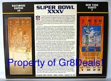 SUPER BOWL 35 ~ RAVENS vs GIANTS ~ NFL 22 KT GOLD SB XXXV TICKET Willabee & Ward