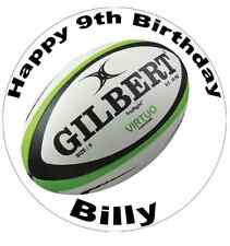 """Rugby Ball Personalised Cake Topper Edible Wafer Paper 7.5"""""""