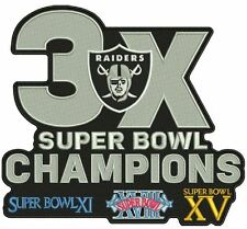 "LA RAIDERS PATCH 3X SUPER BOWL CHAMPIONS OAKLAND! LOS ANGELES! 8"" X 7"" CHAMPS!"