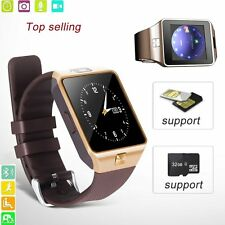 Image result for smart watch gold and.brown.leather band dz09