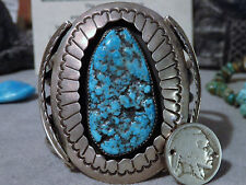 "GIANT 101G 1970s Pawn NAVAJO VALLEY BLUE TURQUOISE STERLING ShadowBox CUFF 6.5""z"