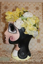 1940s GIALLO a fiori BONNET Cappello-NAIF VINTAGE-GOODWOOD USA