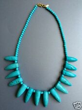 Kenneth Jay Lane Chic Turquoise Stone Spike Tusk Gold Tribal Statement Necklace