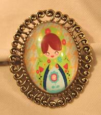 Lovely Swirl Rim Goldtne Green Yellow Accent Little Girl Floral Cameo Brooch Pin