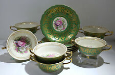 Rosenthal Hand Decorated 12 Porcelain Soup Cups Under Plates Green & Gold Decor